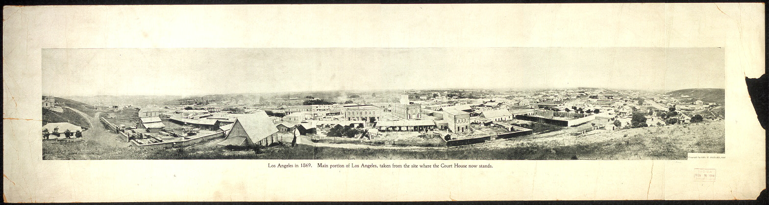 Los Angeles in 1869. Main portion of Los Angeles, taken from the site where the Court House now stands