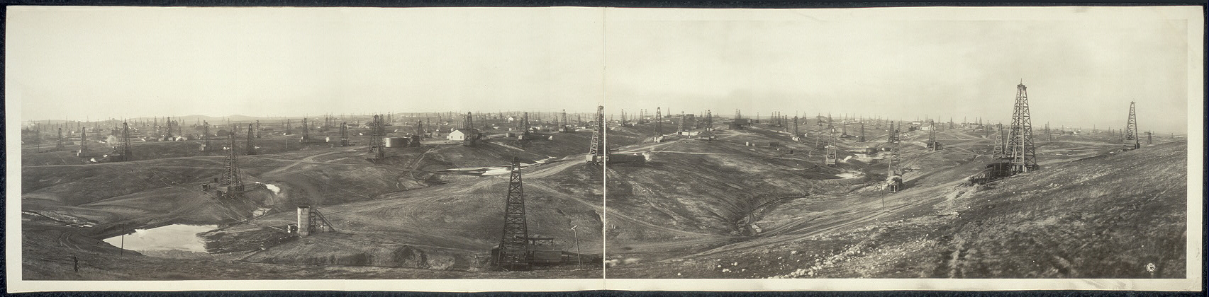 Reed lease looking N. from Job Hill showing Caufield lease, Sterling R[...] Oil Co., Linda Vista and Piedmont properties