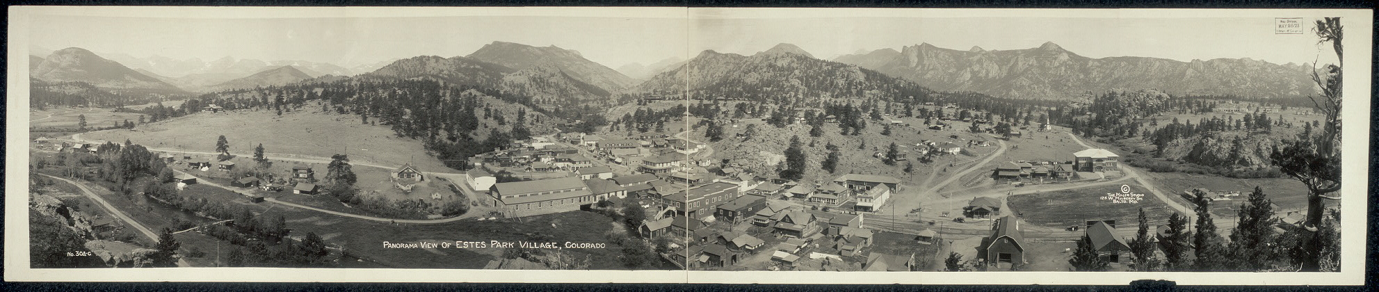 Panorama view of Estes Park Village, Colorado