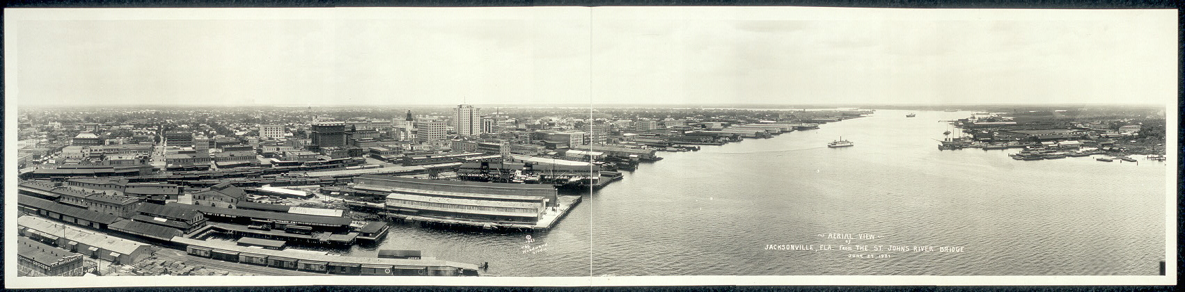 Aerial view of Jacksonville, Fla. from the St. Johns River Bridge, June 27, 1921