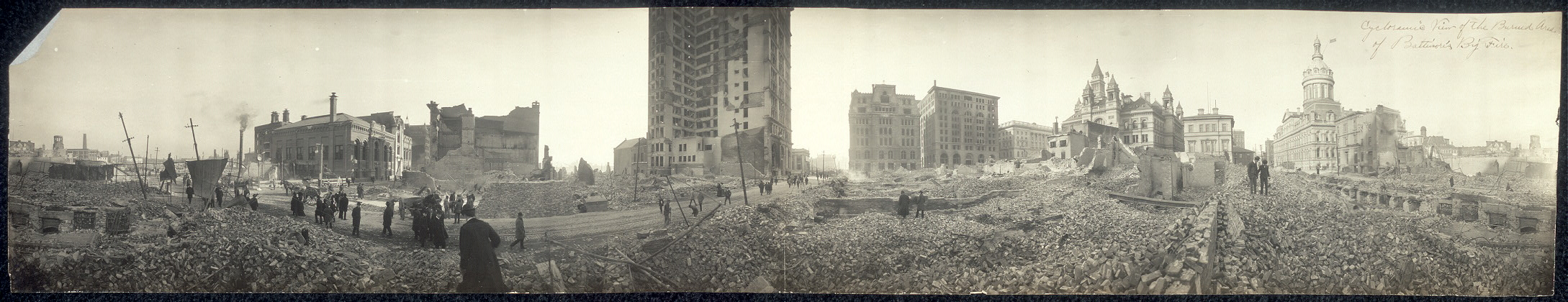 Cycloramic view of the burned area of Baltimore's big fire