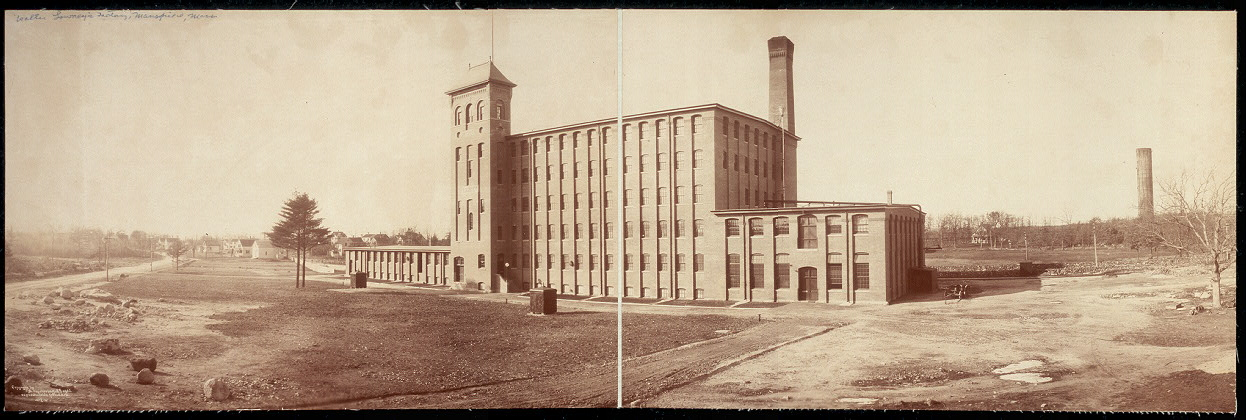 Panoramic photo of Walter Lowney's factory, Mansfield, Mass.