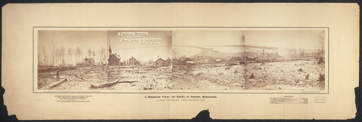 A business view, (or card), of Duluth, Minnesota; looking waterward; taken December, 1870