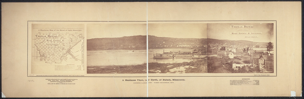 A business view, (or card), of Duluth, Minnesota; looking landward; taken December, 1870
