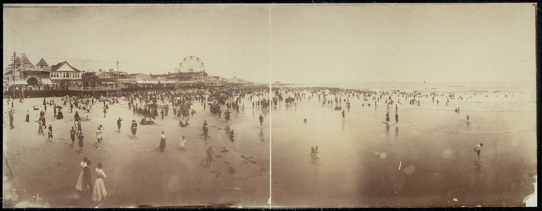 [Atlantic City; panorama of beach and boardwalk from pier]