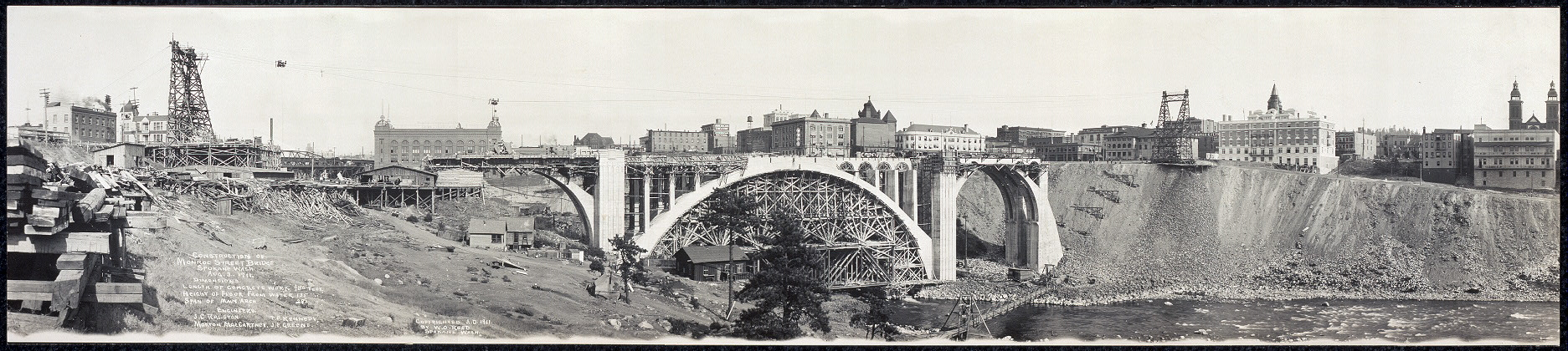 Construction of Monroe Street Bridge, Spokane, Wash., Aug. 3, 1911