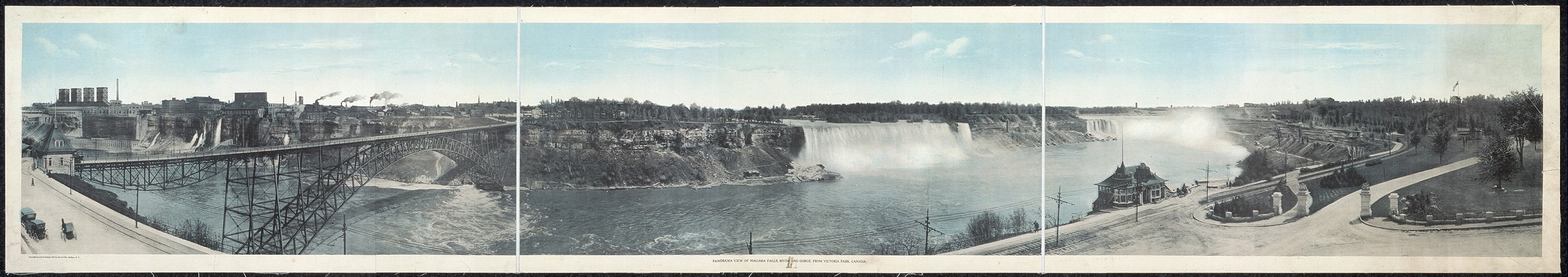 Panorama view of Niagara Falls, river and gorge, from Victoria Park, Canada