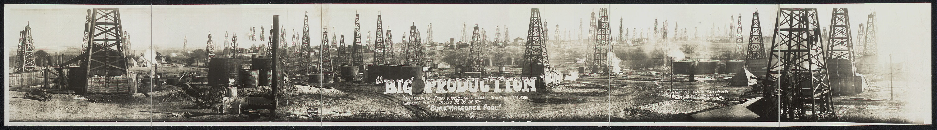 """Big Production"", panographed from Middle States Lease block 96 featuring, from left to right, blocks 95-89-88-87, ""Burkwaggoner Pool""."