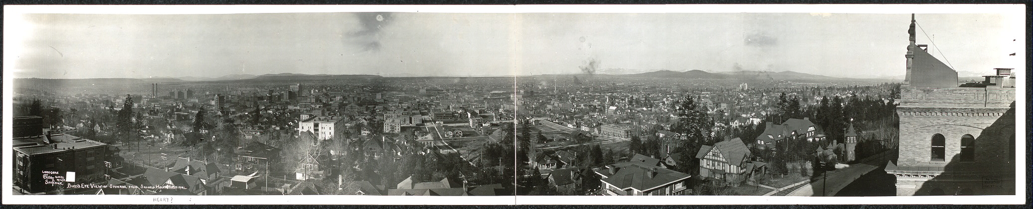 Bird's eye view of Spokane from Sacred Hart [sic] Hospital