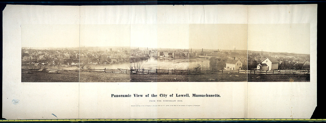 Panoramic view of the city of Lowell, Massachusetts, from the northeast side
