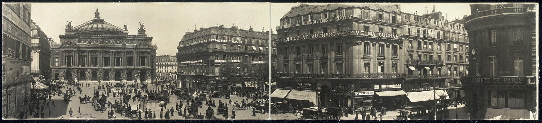 [Panoramic view of Place de L'Opera, Paris]