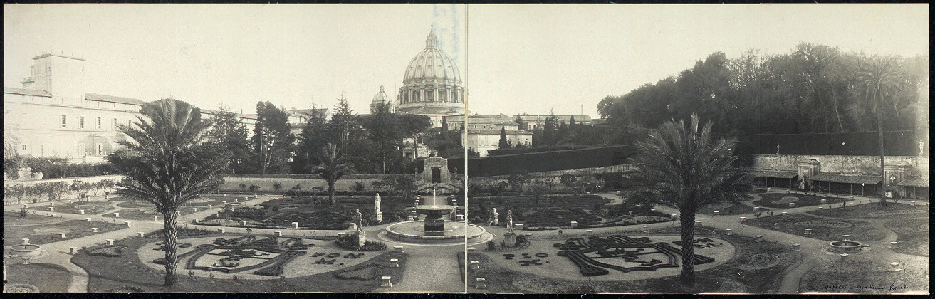 Panoramic view of Vatican Gardens, Rome