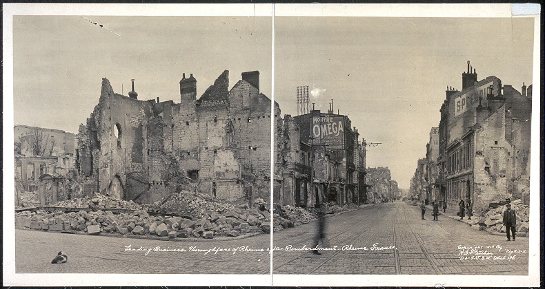 Leading business thoroughfare of Rheims after bombardment, Rheims, France