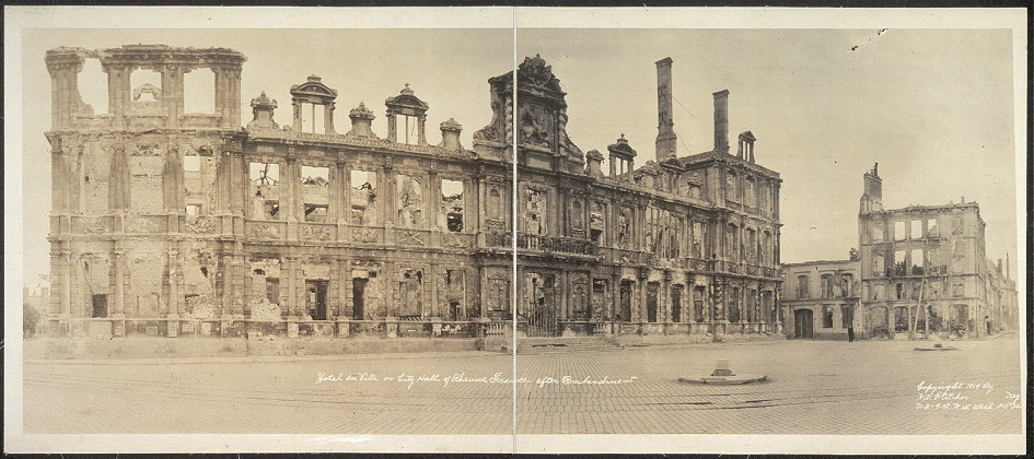 Hotel du Ville or City Hall of Rheims, France after bombardment