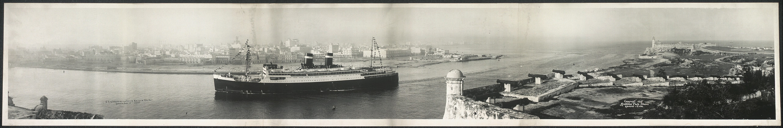 S.S. Virginia entering Havana Harbor, December 11, 1928