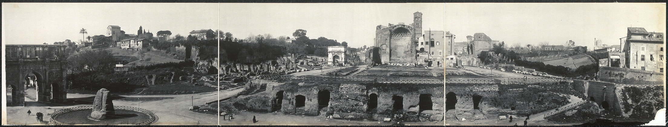 View from Coliseum showing Arch of Constantine, Palatine Hill, Arch of Titus, Nero's Temple, etc., Rome
