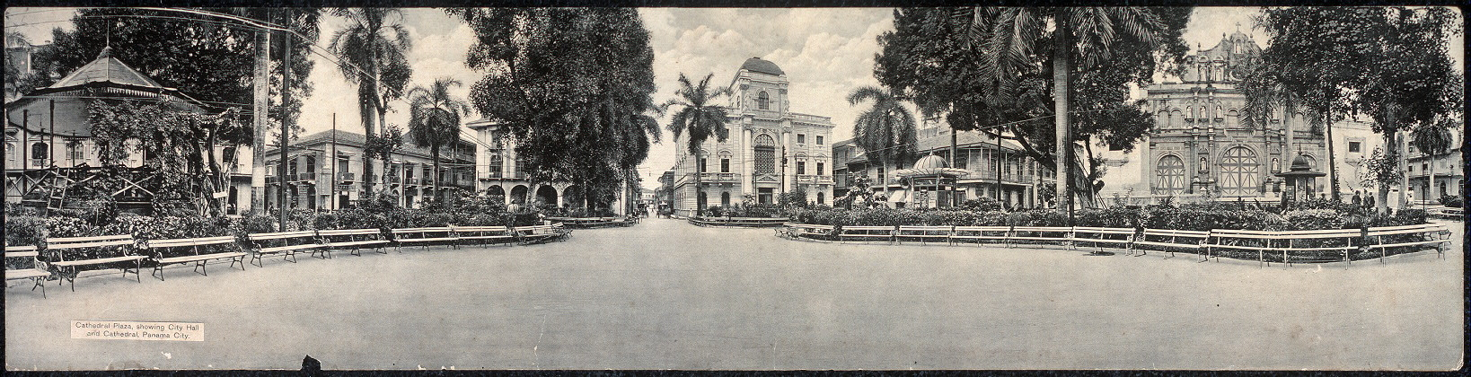 Cathedral Plaza, showing City Hall and Cathedral, Panama City