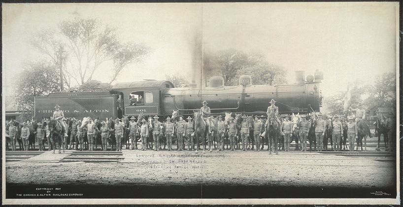 Largest engine in the world, Cavalry in foreground mounted on horses