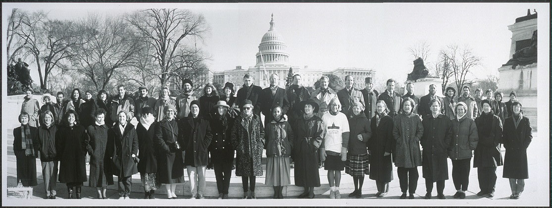 [Library of Congress staff members in front of U.S. Capitol, December, 1991]