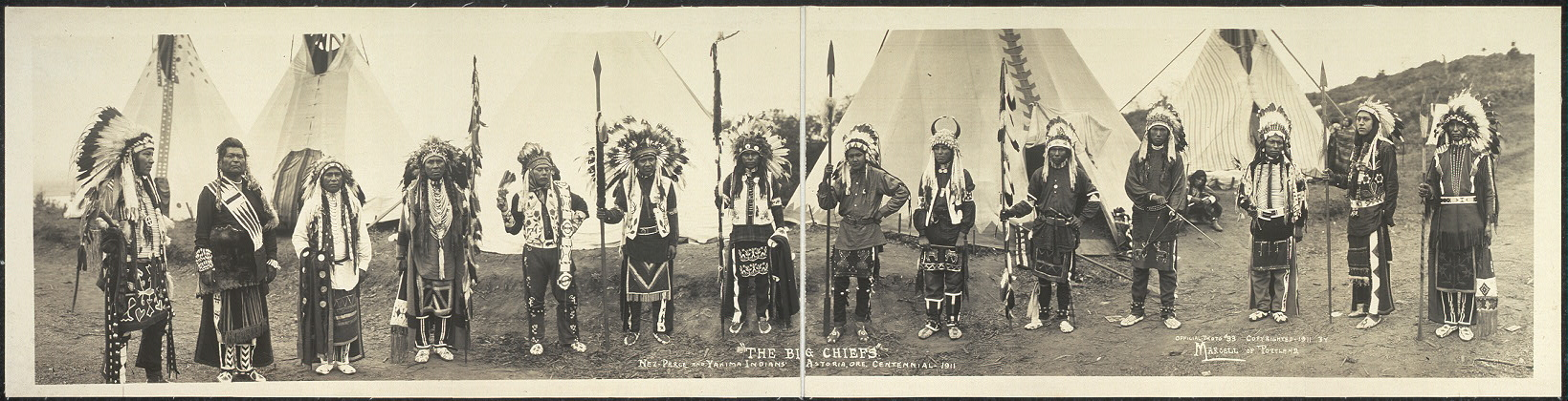 """The Big Chiefs"", Nez-Perce and Yakima Indians, Astoria, Ore. Centennial, 1911"