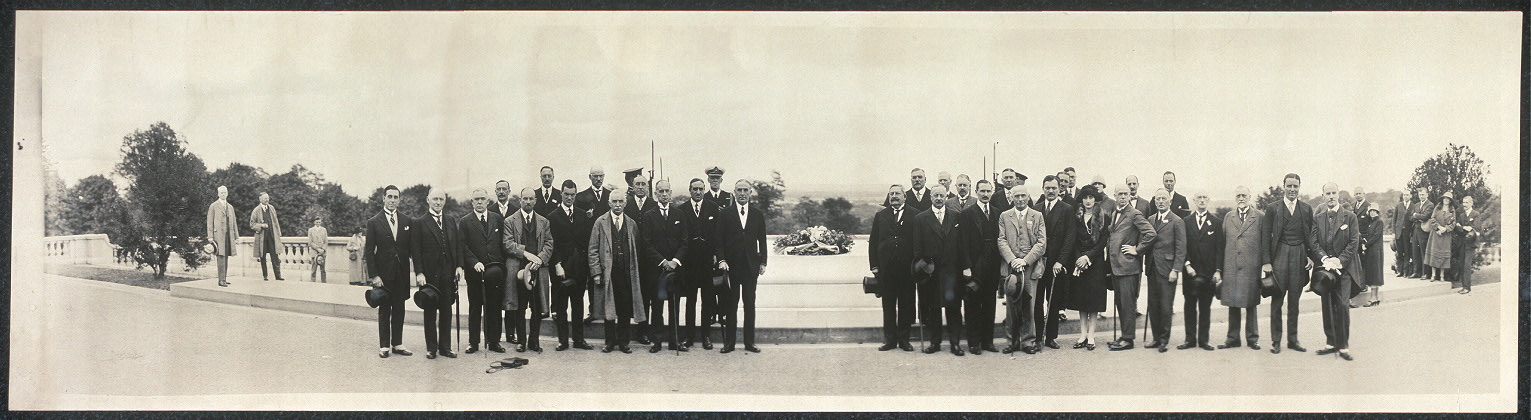 [Unidentified group standing in front of the Tomb of the Unknown Soldier, Arlington National Cemetery, Virginia]