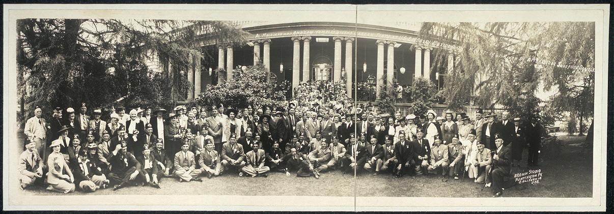 Al Malaikah and Anezeh Temples attend garden party at U.S. Embassy, Mexico City, May 27, 1941 given by Ambassador Josephus Daniels