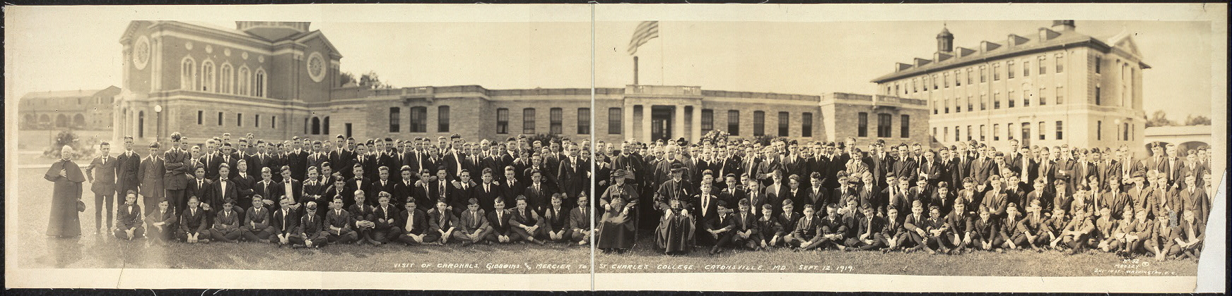 Visit of Cardnals [sic] Gibboins [i.e., Gibbons?] and Mercier to St. Charles College, Catonsville, Md., Sept. 12, 1919