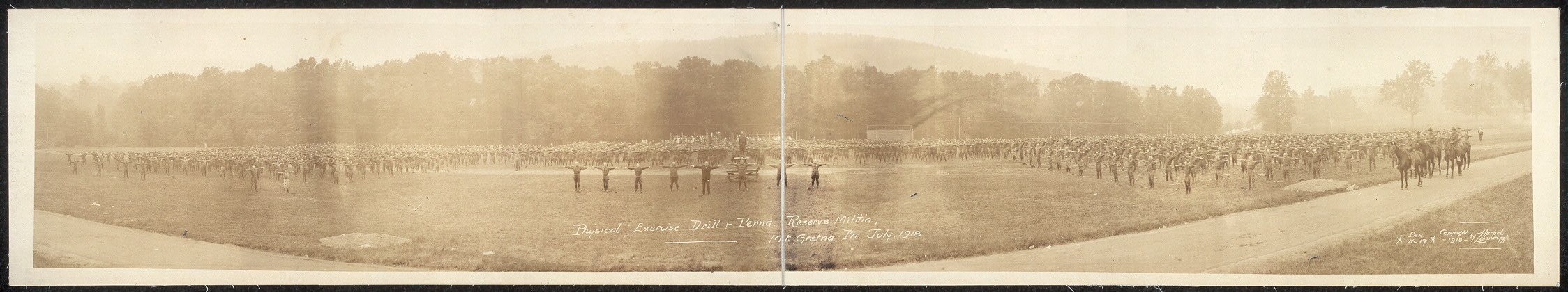 Physical exercise drill & Penna. Reserve Militia, Mt. Gretna, Pa., July 1918