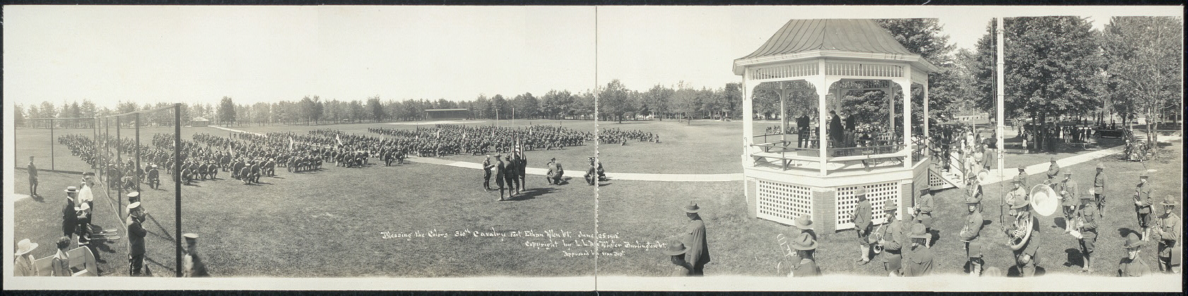 Blessing the colors, 310th Cavalry, Fort Ethan Allen, Vt., June 25, 1918