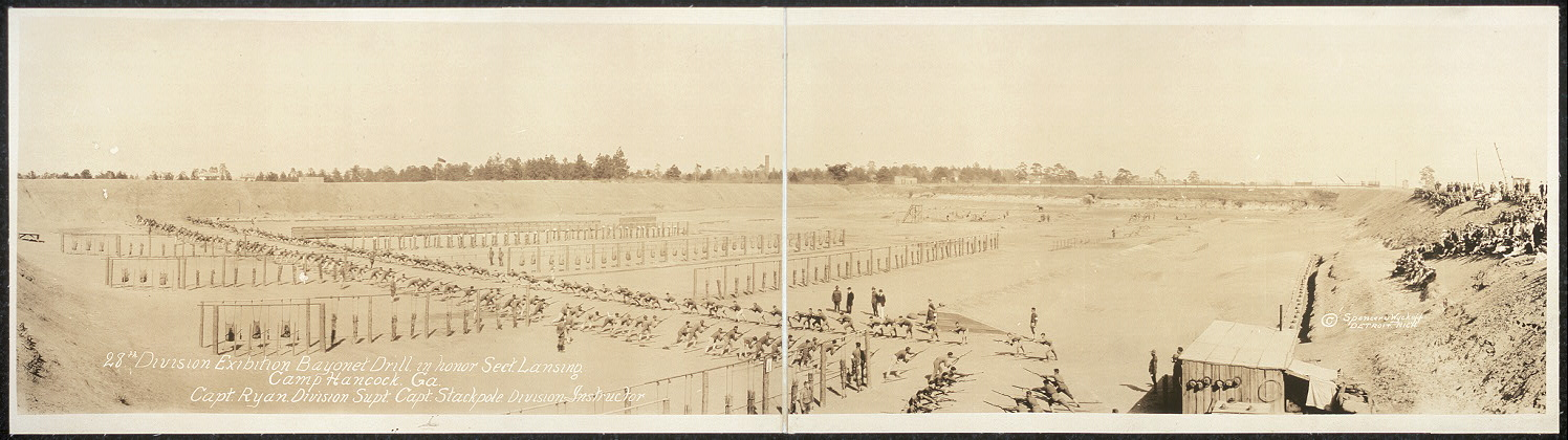 28th Division exibition [sic] bayonet drill in honor Sect. Lansing, Camp Hancock, Ga., Capt. Ryan, Division Supt., Capt. Stackpole, Division Instructor