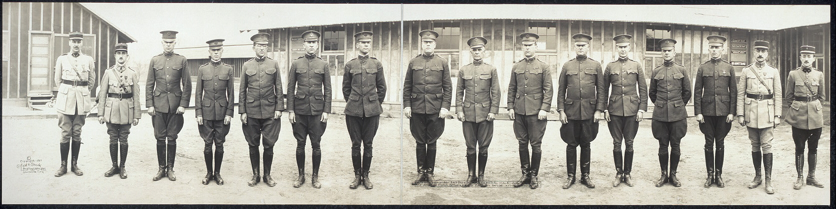 Division commander, 84th Division, Maj. General Hale, with division staff and attached French officers, Camp Zachary Taylor, Ky., November 21, 1917