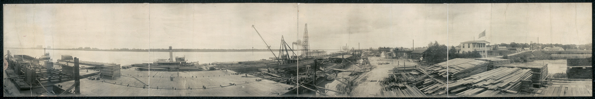 Panarama [sic] of United States Engineer Depot at New Orleans, La., showing barge and quarterboat under construction and Fourth District Plant laid up