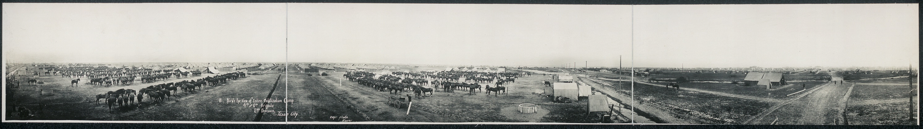 Birds eye view of entire mobilization camp, 4th and 6th Brigade, 2nd Division, Texas City