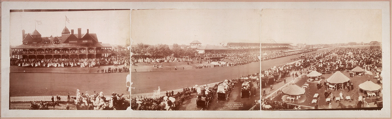 [Horse racing track seen from bird's-eye infield view, horses racing down track drawn in by hand]