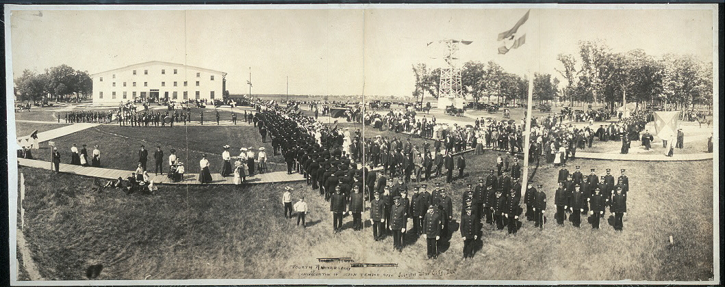 Fourth anniversary of consrecration [sic] of Zion Temple site, July, 1904, Zion City, Ill.
