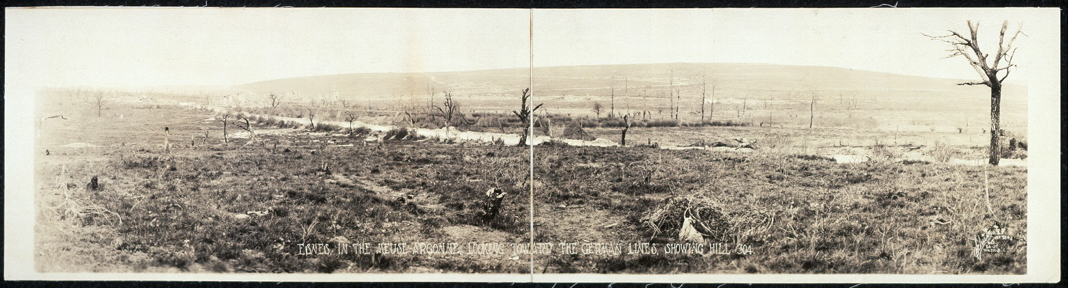 Esnes in the Meuse-Argonne, looking toward the German lines, showing Hill 304