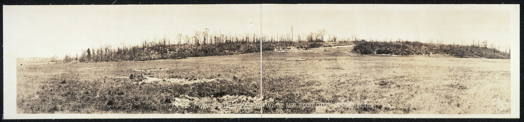A close up view of the Belleau Woods [sic] showing the hard fought ground captured by the American Army in 1918