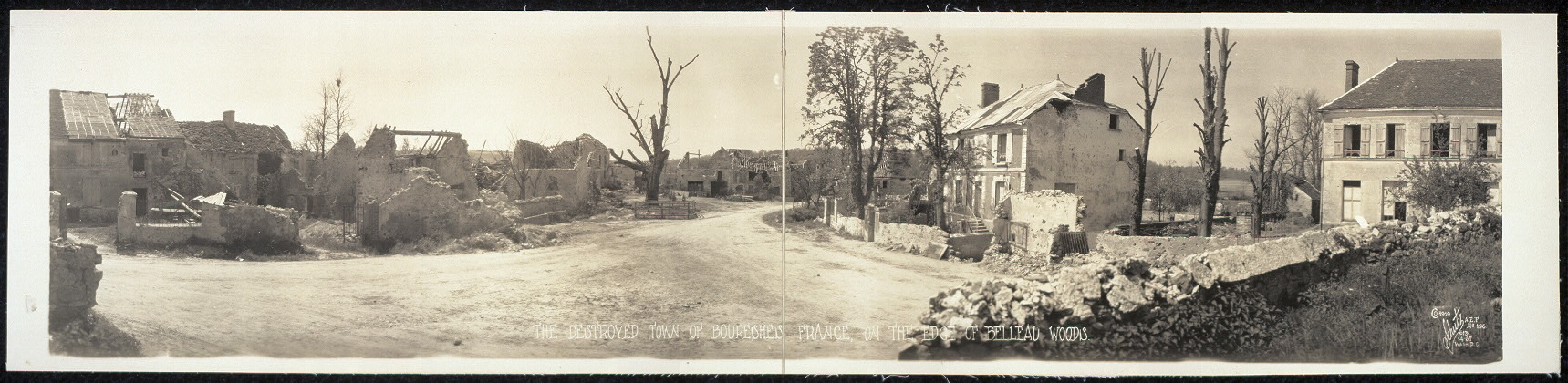 The destroyed town of Boureshes [sic], France, on the edge of Belleau Woods