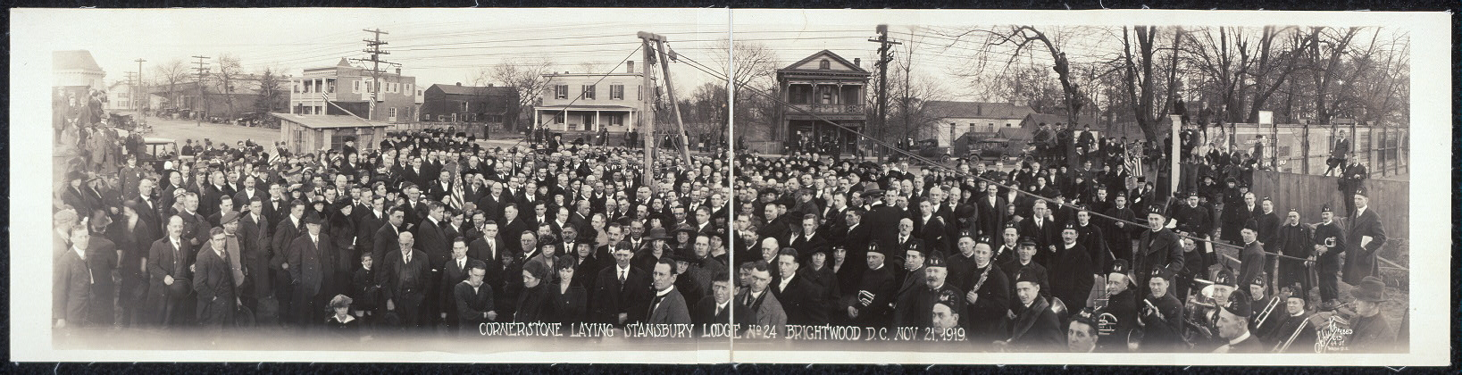 Cornerstone laying, Stansbury Lodge No. 24, Brightwood, D.C., Nov. 21, 1919