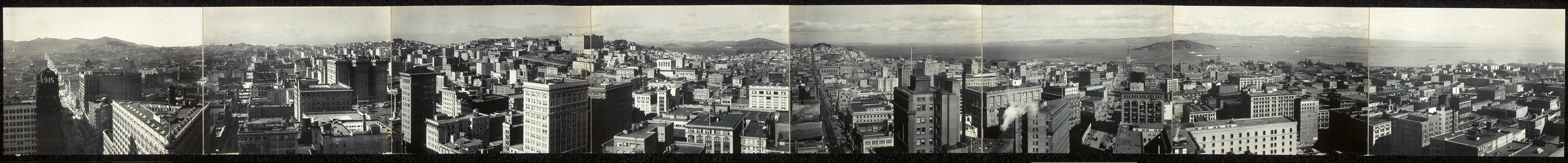 A panorama of San Francisco, California showing the reconstructed city photographed February, 1912