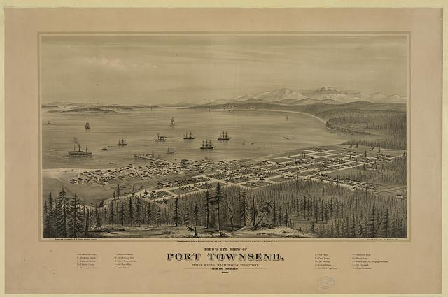 Bird's eye view of Port Townsend, Puget Sound, Washington Territory. From the north-east. 1878