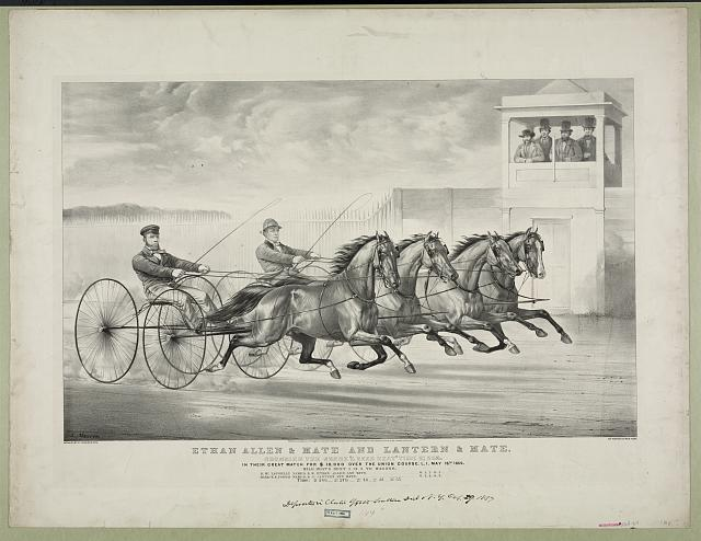 "Ethan Allen & Mate and Lantern & Mate: crossing the score ""a dead heat"" time 2:24 1/2 In their great match for $10,000 over the Union Course, L.I. May 18th 1859, mile heats best 3 in 5 to wagons."