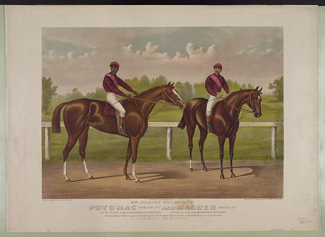 Mr. August Belmont's Potomac [Hamilton up] and Masher [Bergen up]: by St. Blaise, dam Susquehanna by Lexington by the ill used. dam Magnetism by Kingfisher
