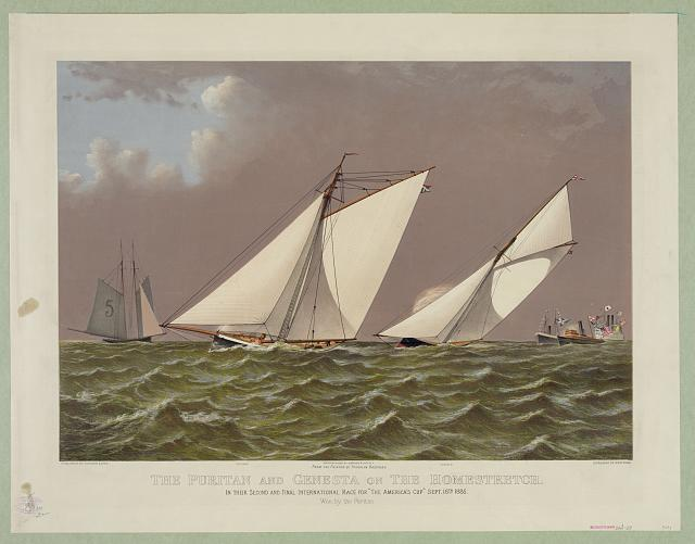 "The Puritan and Genesta on the homestretch: in their second and final international race for ""The America's Cup"" Sept. 16th 1885"