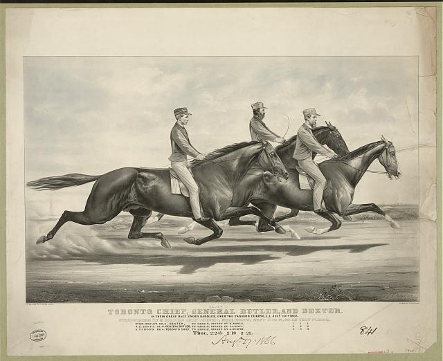 Toronto Chief, General Butler, and Dexter: in their great race under Saddles, over the Fashion Course, L.I. July 19th, 1866