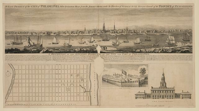 An east prospect of the city of Philadelphia; taken by George Heap from the Jersey shore, under the direction of Nicholas Scull surveyor general of the Province of Pennsylvania