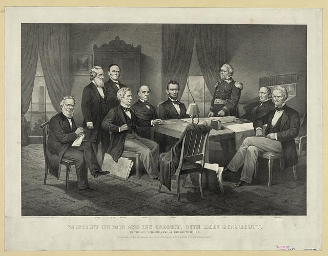 President Lincoln and his cabinet, with Lieut. Genl. Scott