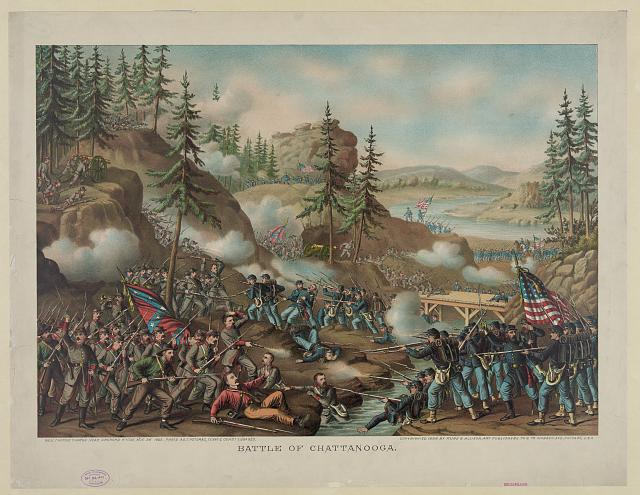 Battle of Chattanooga--Gen. Thomas' charge near Orchard Knob, Nov. 24' 1863--parts A.O.T. Potomac, Tenne. & Cumbd. engaged