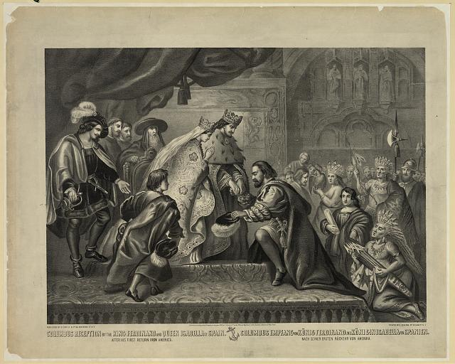 Columbus reception by the King Ferdinand and Queen Isabella of Spain after his first return from America = Columbus empfang von ...
