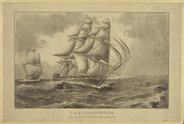 U.S.S. Constitution towing the H.B.M. ship Cyane captured February 28th 1815